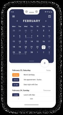 Schedule App - calendar's home screen Full month view