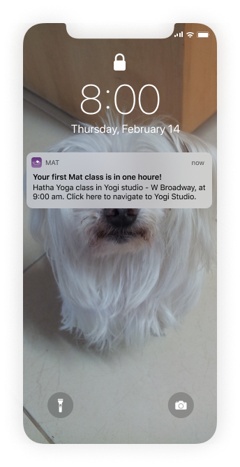Notification on the user's phone that makes sure they don't forget about the class - Mat yoga app